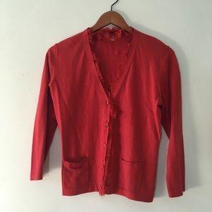 CAbi women's red Ruffle Cardigan